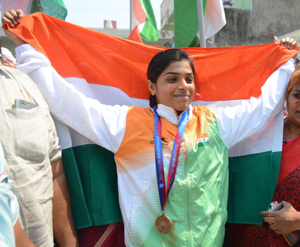 First Indian world cup medalist in gymnastics – Aruna Reddy