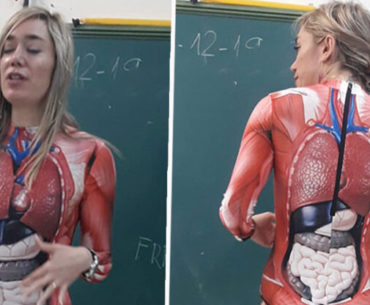Veronica Duque – The teaching wonder woman in an anatomy body suit